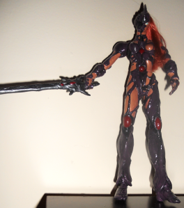 Vinyl Female Guyver - I had to put this together, paint and seal it, then attach the hair.